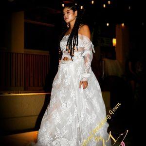 LEENAH Custom Order Boho Lace Wedding Gown Set